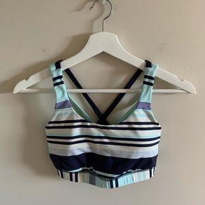 lululemon navy blue striped energy bra size 6